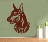 Sticker decorativ cap de Doberman