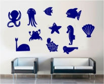 Sticker decorativ diverse animale marine