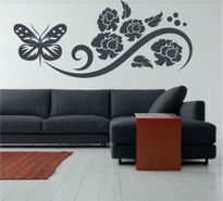 Sticker decorativ floral cu fluture