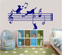 Sticker decorativ pisici si note muzicale