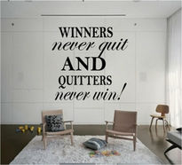 Sticker text WINNER NEVER QUIT QUITTERS NEVER WIN