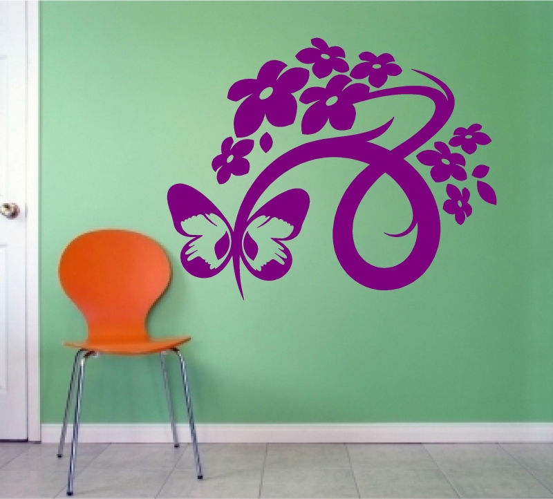 Sticker decorativ fluture floare