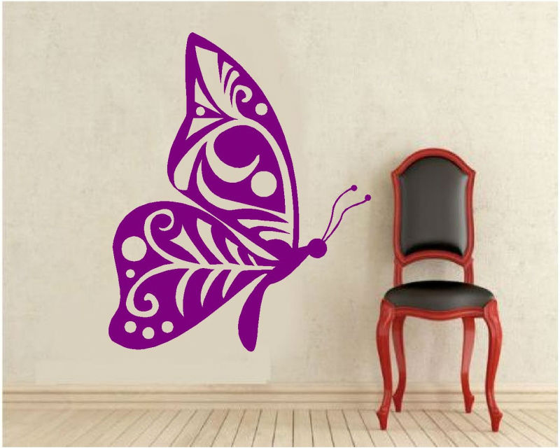 Sticker decorativ fluture stilizat