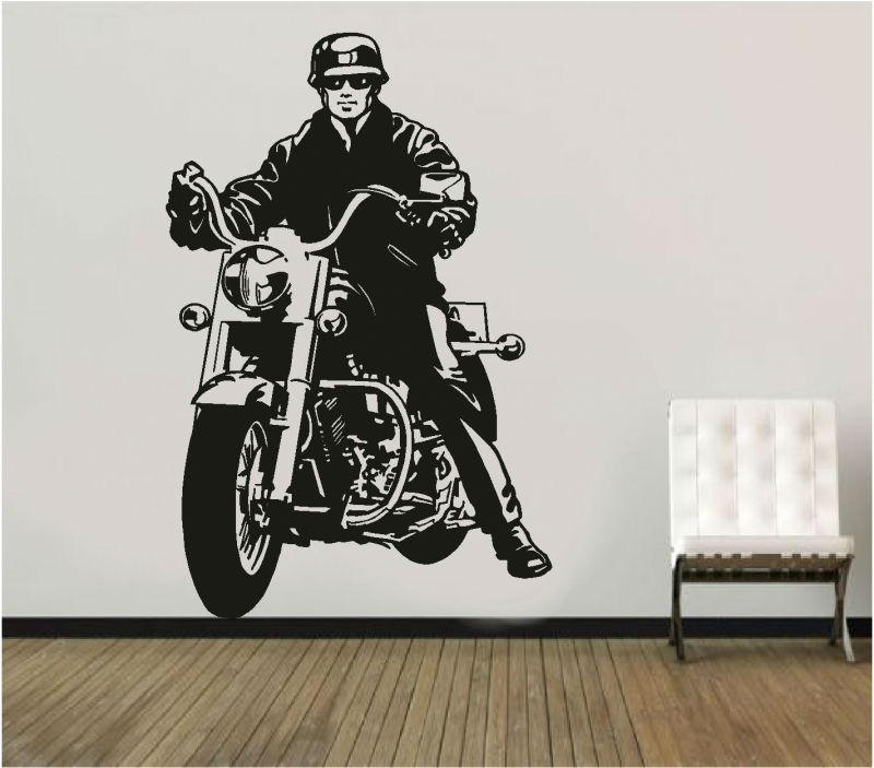 Sticker decorativ motociclist pe chopper
